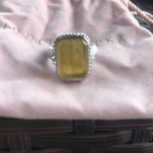 Bnew Judith Ripka SS Yellow Gemstone Ring